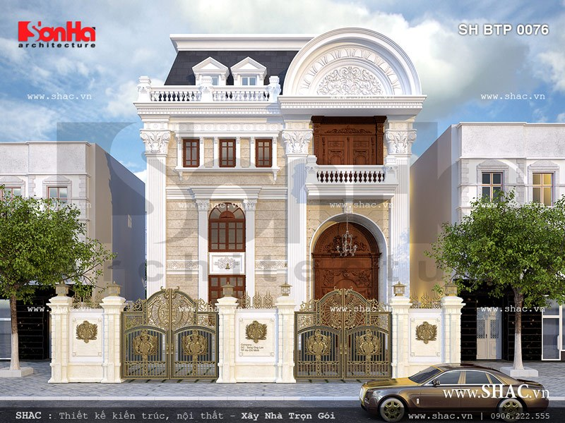 kiến trúc biệt thự pháp 2 tầng đẹp và sang trọng