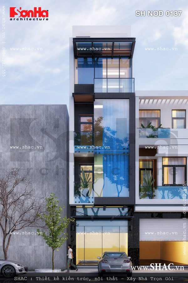 Vật liệu kính trên mặt tiền nhà lô phố đẹp giúp công trình càng toát lên sự sang trọng