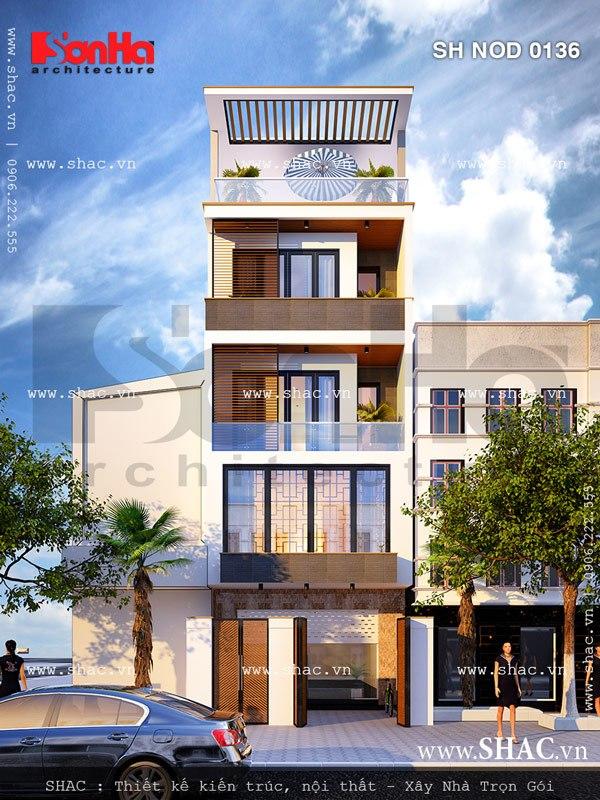 Sự thoáng đãng và cở mở trong thiết kế mặt tiền là điểm nhấn của mẫu nhà phố này