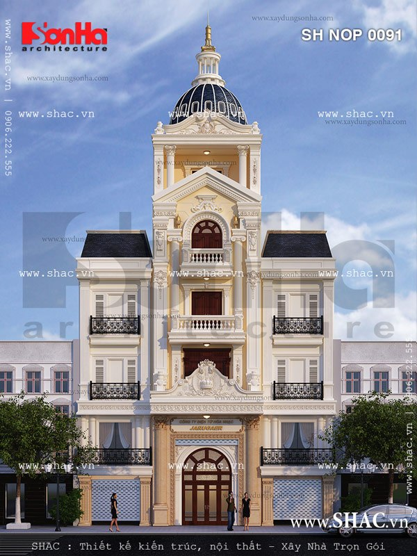 Thêm một phương án thiết kế nhà phố kiến trúc Pháp mái vòm đẹp mắt từng tiểu tiết