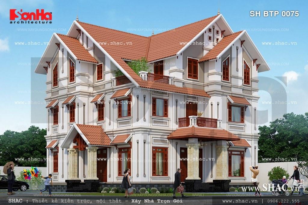 Thiết kế biệt thự phố đẹp với sự kết hợp có duyên của các chi tiết sang trọng và tinh tế