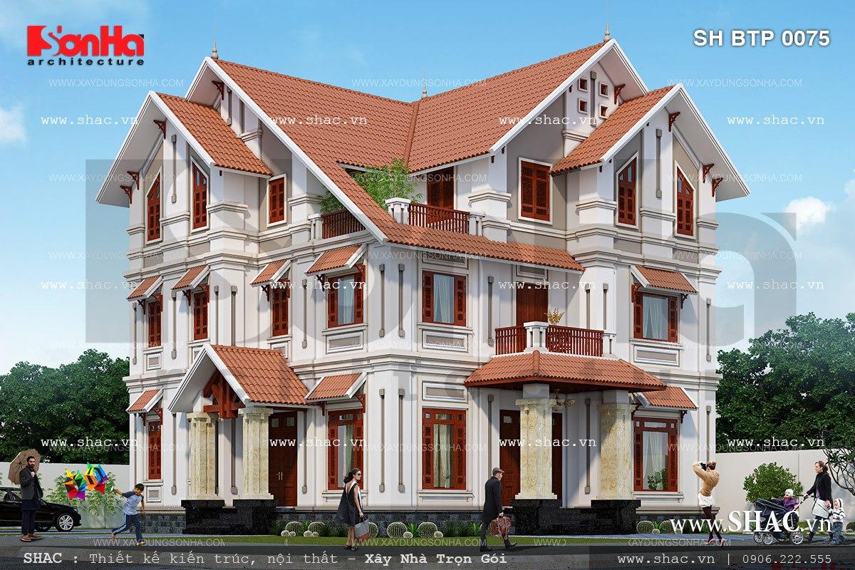 Biệt thự kiểu pháp 3 tầng diện tích 100m2 sh btp 0075