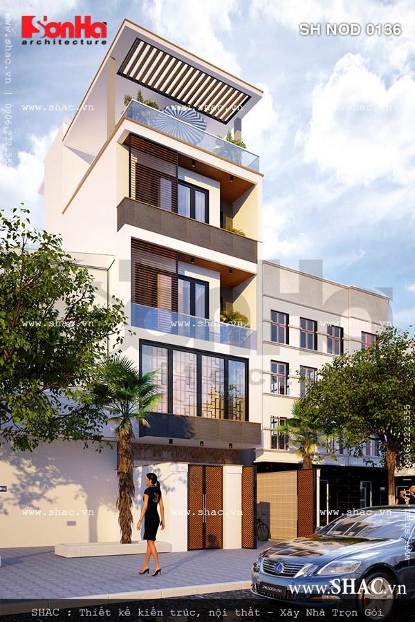 Từ mọi góc nhìn phương án thiết kế của mẫu nhà lô phố 5 tầng đều ấn tượng, tinh tế