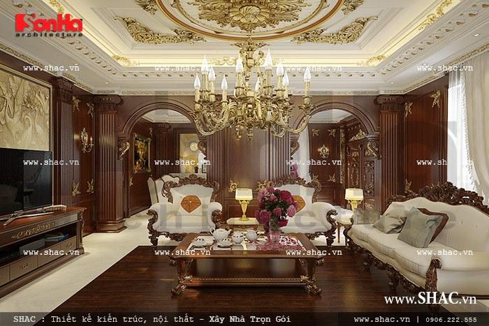 Thiết kế phòng khách xa hoa, tráng lệ với gam màu tinh tế, thiết bị nội thất cao cấp