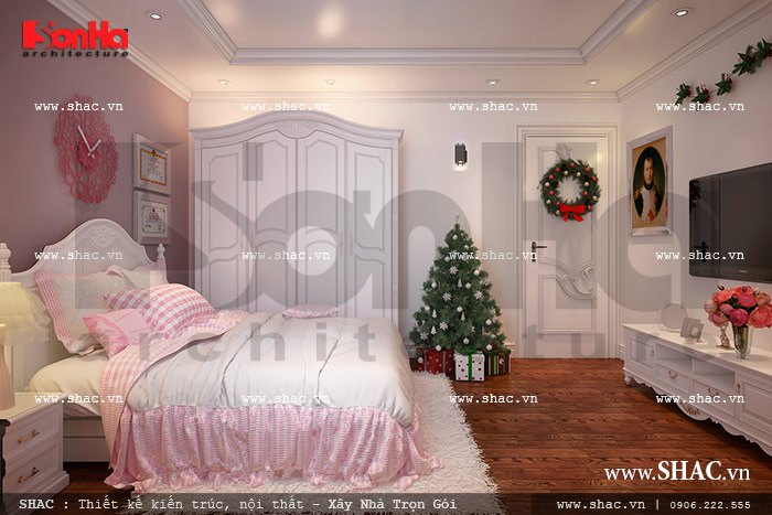 Phòng ngủ màu hồng cho con gái sh nop 0090