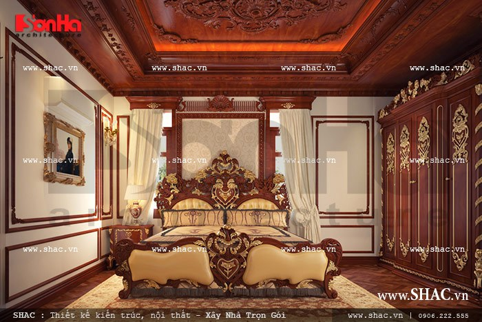 Toàn cảnh nội thất phòng ngủ cổ điển đậm chất hoàng gia với lối bày trí tinh tế của KTS SHAC dành cho gia chủ