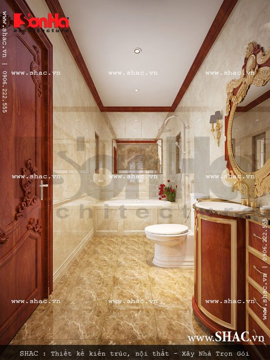 Mẫu phòng tắm cao cấp của biệt thự lâu đài cổ điển