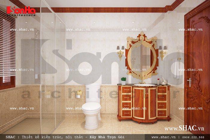 Phòng tắm và vệ sinh của biệt thự được thiết kế trên không gian rộng của phòng ngủ
