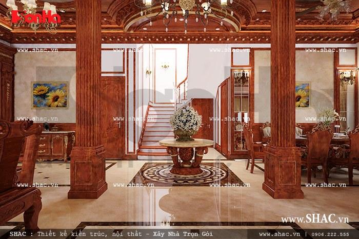 Phần sảnh rộng và thoáng đãng giúp cho mọi sinh hoạt tại tầng 1 của biệt thự được gắn kết với nhau