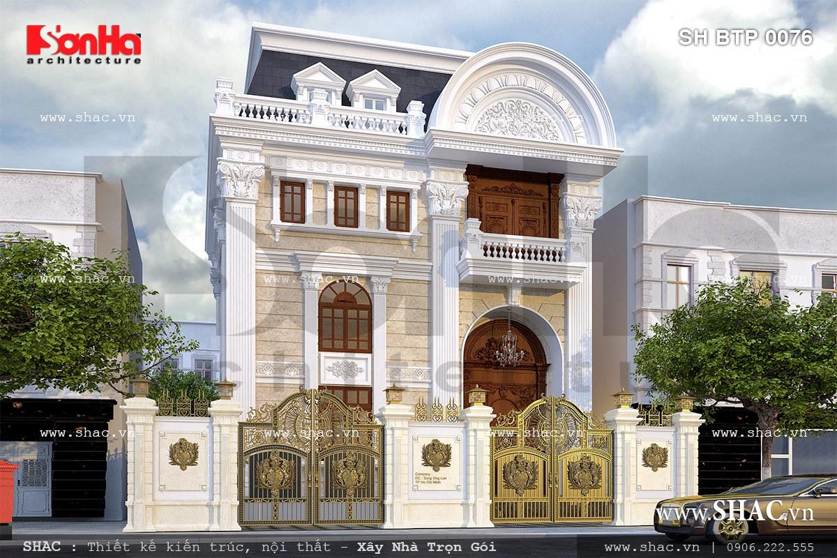 Thiết kế biệt thự hai tầng kiểu Pháp đẹp – SH BTP 0076 2