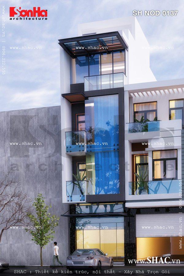 Thiết kế mặt tiền của ngôi nhà phố phong cách hiện đại đẹp mắt với bố cục mạch lạc