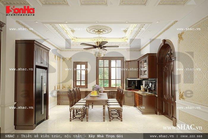 Mẫu thiết kế nội thất phòng bếp ăn cổ điển kiểu Pháp sang trọng thu hút mọi ánh nhìn