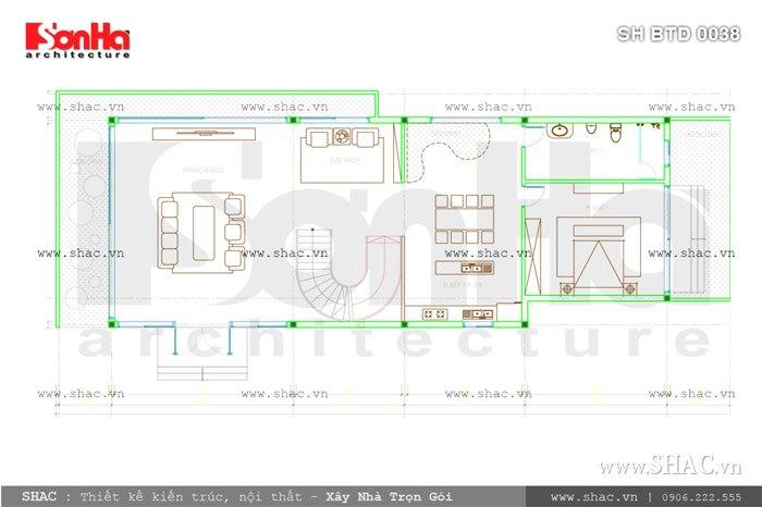 Bản vẽ mặt bằng tầng 3 của biệt thự sh btd 0038