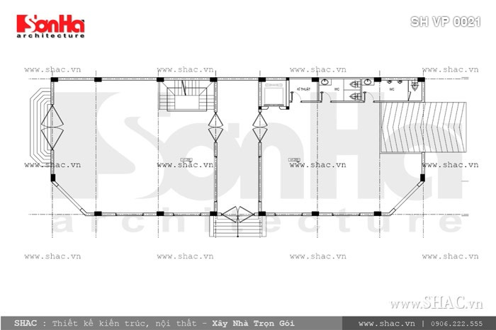 Bản vẽ mặt bằng tầng 1 của tòa nhà sh vp 0021
