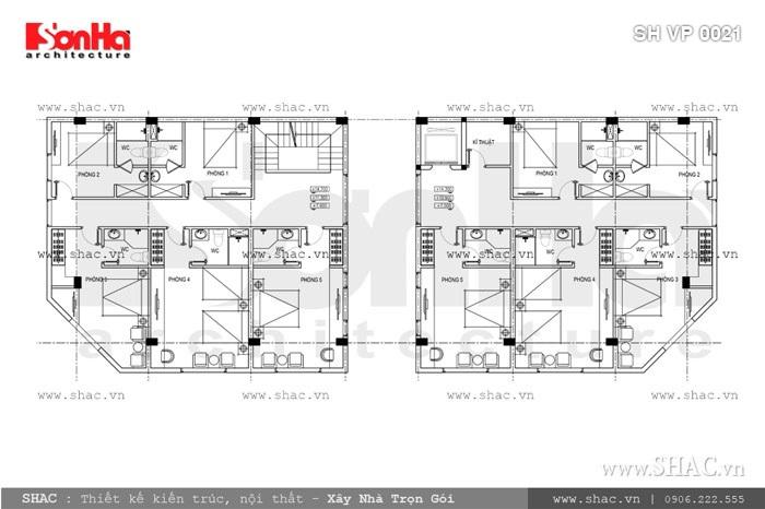 Bản vẽ mặt bằng tầng 2-3-4 của tòa nhà sh vp 0021