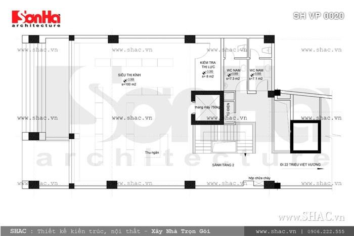 Bản vẽ mặt bằng tầng 2 của tòa nhà sh vp 0020