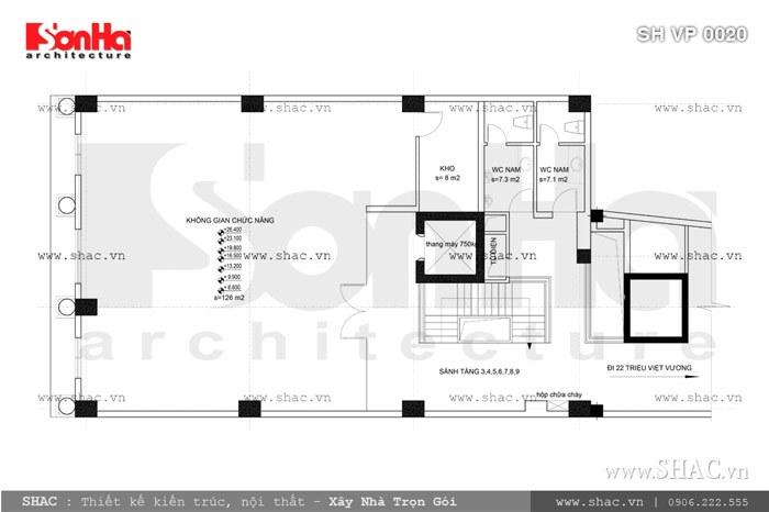 Bản vẽ mặt bằng tầng 3 đến 9 của tòa nhà sh vp 0020