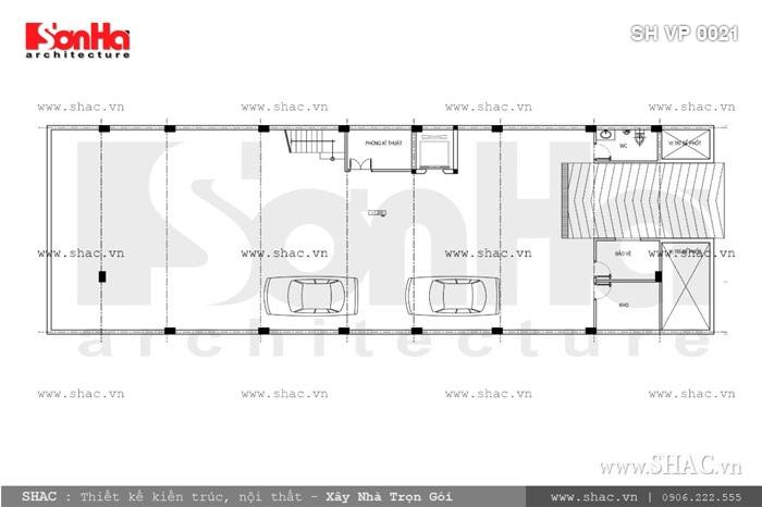Bản vẽ mặt bằng tầng hầm của tòa nhà sh vp 0021