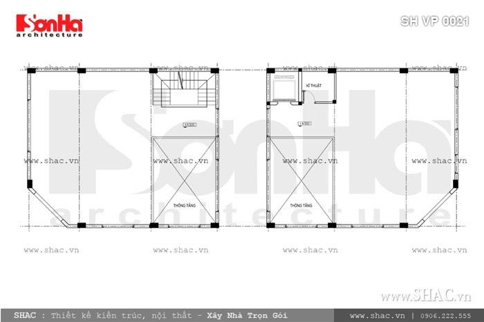Bản vẽ mặt bằng tầng lửng của tòa nhà sh vp 0021