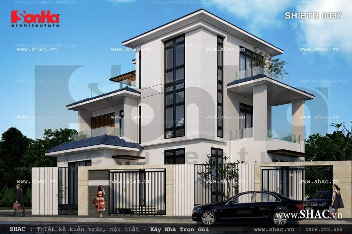Biệt thự 3 tầng mái ngói sh btd 0037