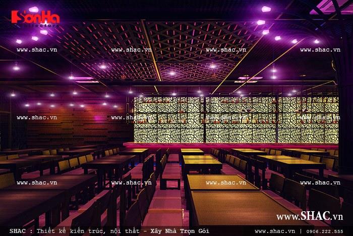 Bố trí ánh sáng hợp lý và ấn tượng cho nhà hàng sh bck 0036