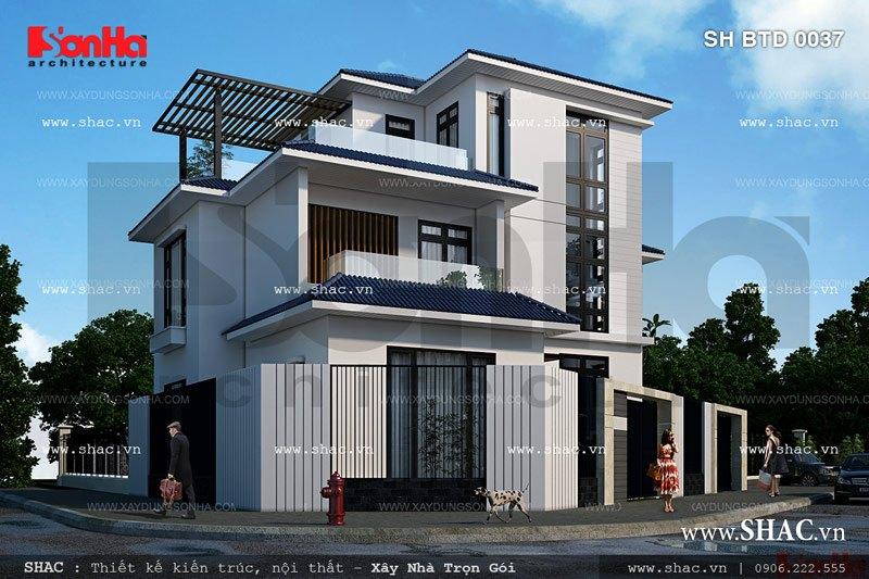 Kiến trúc biệt thự 3 tầng hiện đại sh btd 0037