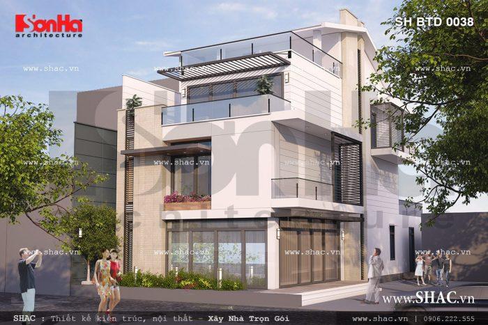 Kiến trúc biệt thự hiện đại 4 tầng sang trọng sh btd 0038