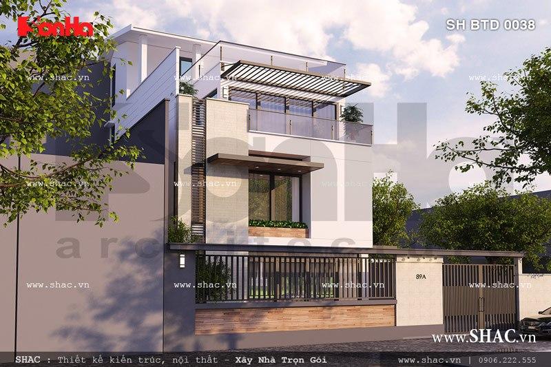 Mặt tiền biệt thự 4 tầng hiện đại sh btd 0038