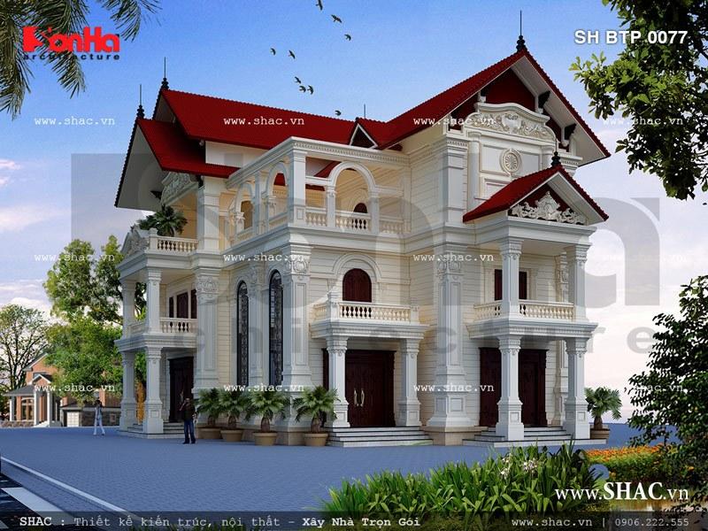 mẫu kiến trúc biệt thự pháp đẹp 3 tầng mái ngói