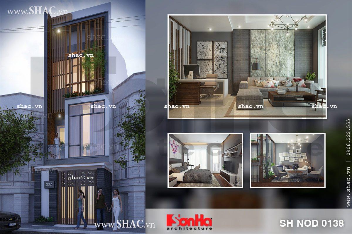 Mẫu thiết kế nhà phố mang kiến trúc hiện đại sh nod 0138
