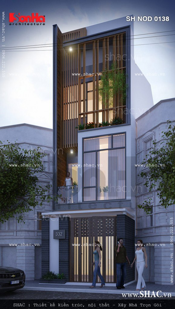 Mặt tiền đẹp của mẫu thiết kế nhà phố 3 tầng kiến trúc hiện đại bố cục mạch lạc tinh tế