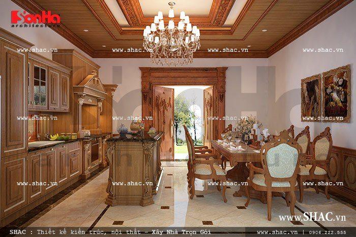 Phương án thiết kế nội thất phòng bếp này được đánh giá là điển hình cho mẫu bếp ăn nội thất gỗ đẳng cấp của biệt thự cổ điển hiện nay