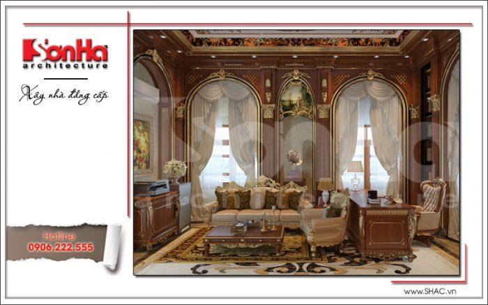 Mẫu thiết kế nội thất phòng làm việc biệt thự 6 tầng tại Thái Bình sh btp 0080