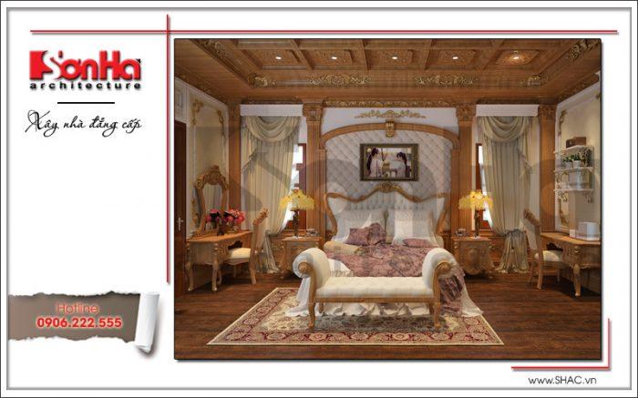 Mẫu phòng ngủ biệt thự kiểu Pháp xa hoa và đẳng cấp với nội thất ốp gỗ tại Khánh Hòa