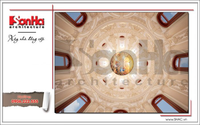 Thiết kế nội thất sảnh thang biệt thự 6 tầng tại Thái Bình sh btp 0080