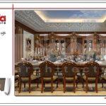 Thiết kế nội thất gỗ phòng ăn cổ điển biệt thự 6 tầng tại Thái Bình sh btp 0080