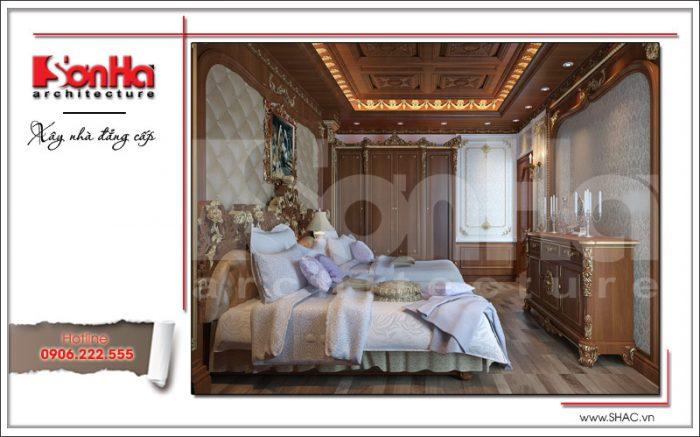 Mẫu thiết kế nội thất gỗ phòng ngủ ông bà biệt thự 6 tầng tại Thái Bình sh btp 0080
