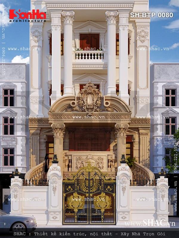 Góc view cận cảnh thể hiện rõ nét kiến trúc cổ điển đẹp và đẳng cấp của mẫu thiết kế biệt thự kiến trúc Pháp 6 tầng