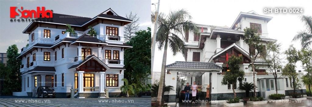 Ảnh kiến trúc trước và sau khi thi công của biệt thự sh btd 0024