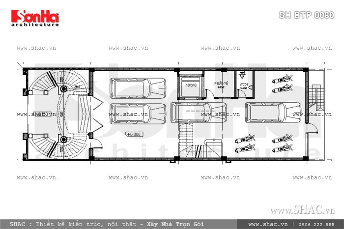 Bản vẽ mặt bằng nội thất tầng 1 của biệt thự sh btp 0080
