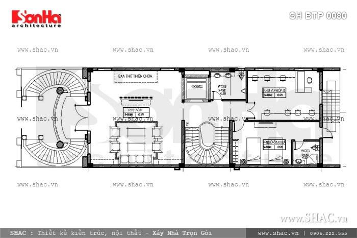 Bản vẽ mặt bằng nội thất tầng 2 của biệt thự sh btp 0080