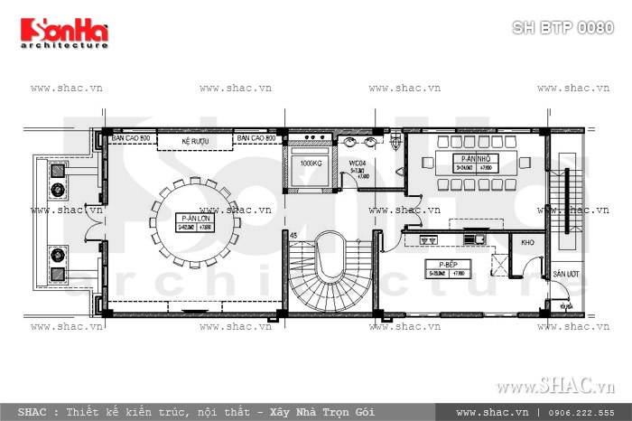 Bản vẽ mặt bằng nội thất tầng 3 của biệt thự sh btp 0080