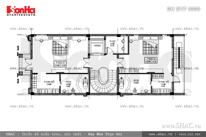 Bản vẽ mặt bằng nội thất tầng 4 của biệt thự sh btp 0080