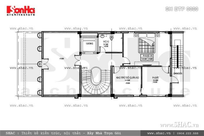 Bản vẽ mặt bằng nội thất tầng 6 của biệt thự sh btp 0080