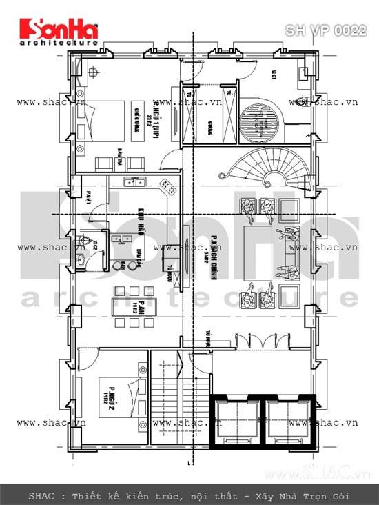 Bản vẽ mặt bằng tầng 6 tòa nhà văn phòng sh vp 0022