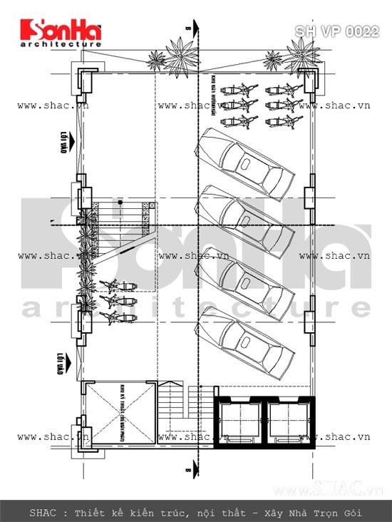 Bản vẽ mặt bằng tầng hầm tòa nhà văn phòng sh vp 0022