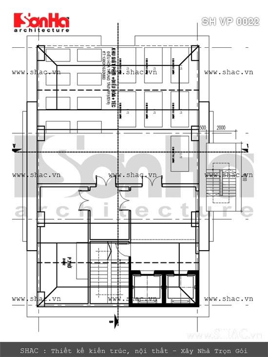 Bản vẽ mặt bằng tầng mái tòa nhà văn phòng sh vp 0022
