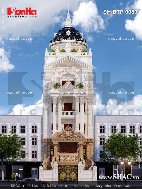 Mẫu thiết kế biệt thự cổ điển 6 tầng tại Thái Bình có kiến trúc mặt tiền ấn tượng mang đậm dấu ấn kiến trúc Pháp