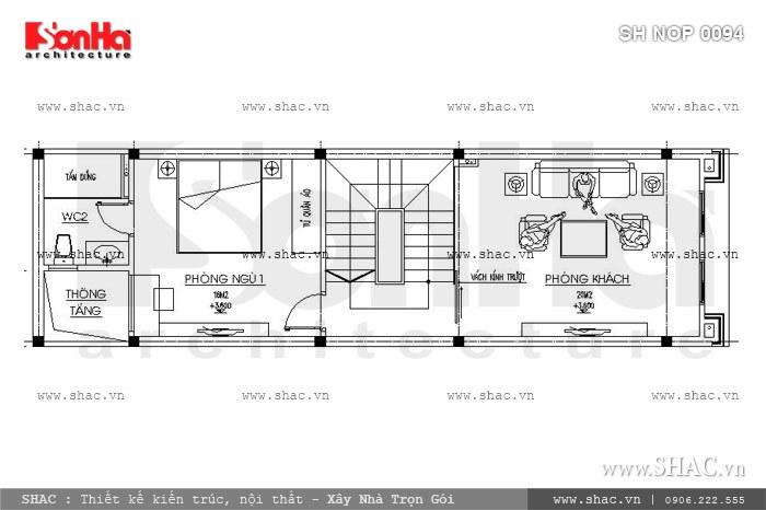Bố trí công năng tầng 2 của nhà phố 60m2 sh nop 0094