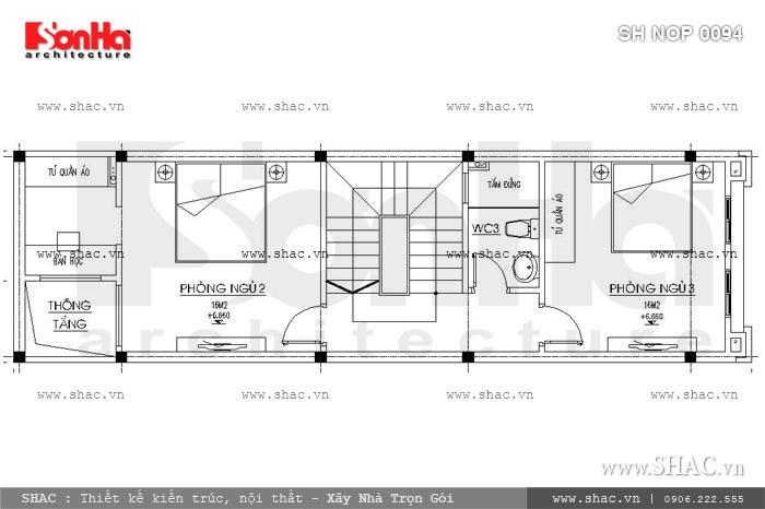 Bố trí công năng tầng 3 của nhà phố 60m2 sh nop 0094